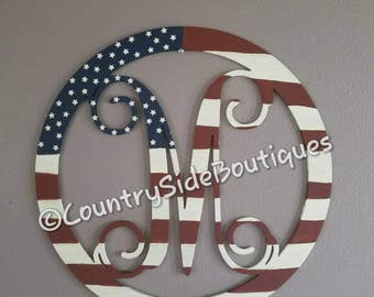 Patriotic family letter wooden decor wall decor flag design