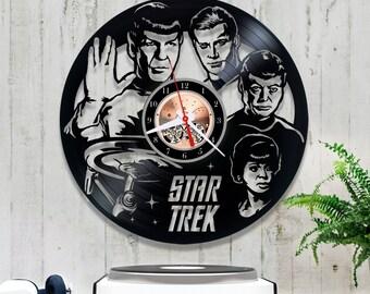 Star Trek Vinyl Record Clock 0/5/2/Wall Clock/Handmade Clock/Kitchen Clock/Unique Vinyl Clock/Wall Vinyl Clock/Star Trek Wall Clock