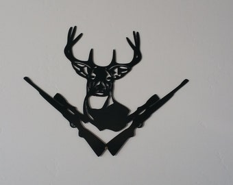 Deer with rifles metal art, deer metal art, rifle metal art, wildlife metal art, deer art, hunting art, hunting metal art, hunting gifts