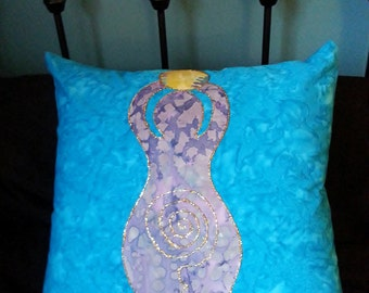 Say it Softly, Decorative Pillow, Gift, Goddess Pillow, Spiral Goddess, Pagan, Wiccan, Batik, Hippie, Spiritual, Blue, Purple