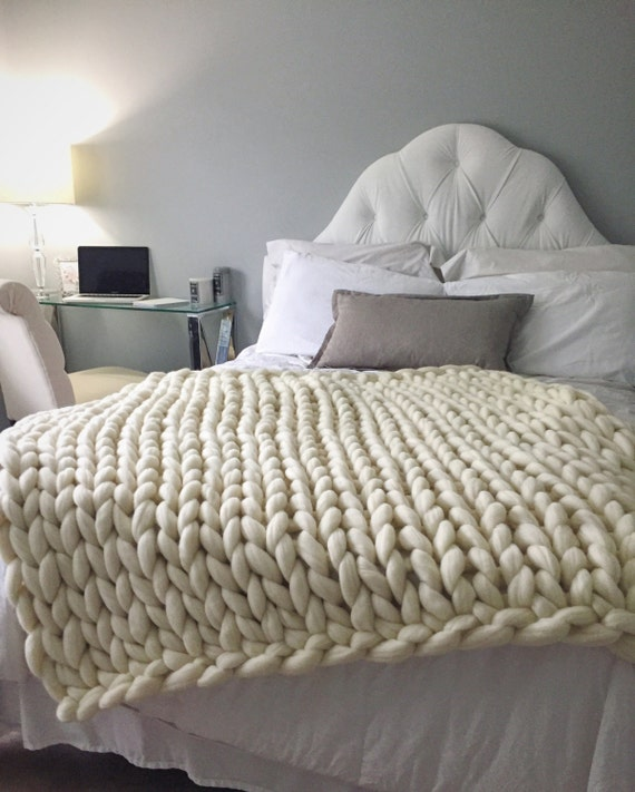 Hand Knitting Merino Wool Blanket : Sale chunky knit blanket merino wool hand knitted