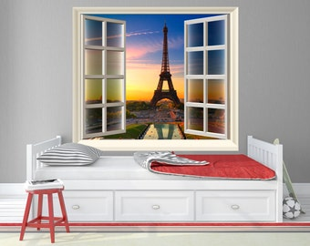 Eiffel Tower Faux Window Wall Decals with View of Paris / Paris Faux Window Frame Decal - TOUWD10030
