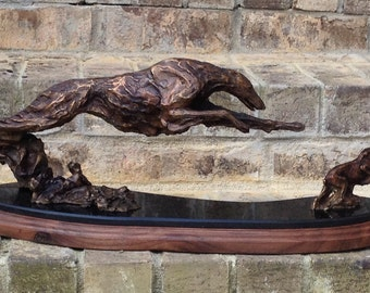 Limited Edition Bronze of Borzoi chasing a Rabbit by Leslie Hutto