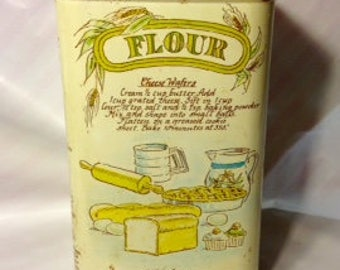 1970s Vintage Flour Recipe Canister Tin/Kitchen Decor/Vintage Tin