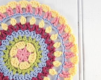 Crochet mandala doily table mat