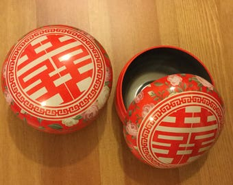 Double Happiness Macaron-shaped Favour Tin Can, Chinese Wedding Favor.