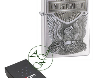 Personalised Engraved  Brushed Chrome Harley Davidson Made in USA Official Zippo Cigarette Lighter