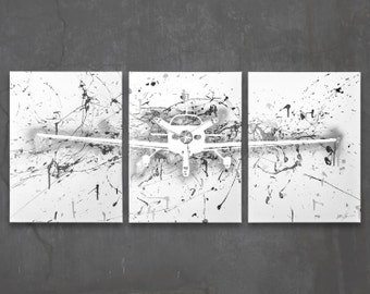 Airplane silhouettes etsy - Vintage airplane triptych ...