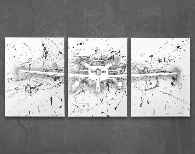 cirrus sr22 // custom original painting // modern triptych // airplane art // metallic large wall art // plane painting silhouette