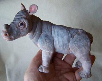 Ooak Dollhouse Miniature Baby Rhino Sculpt by Malga