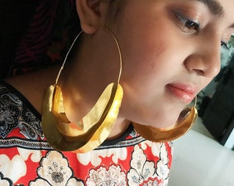 Gold plated 4.5 inches Fulani earrings