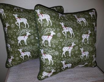 Holiday Decorative Throw Pillow Cover, Green, Gold & Silver Reindeer, Decorative Pillow Cover, Bedroom Decor, Sofa Pillows.