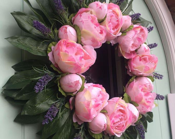 Beautiful Peony and Lavendar Door Wreath