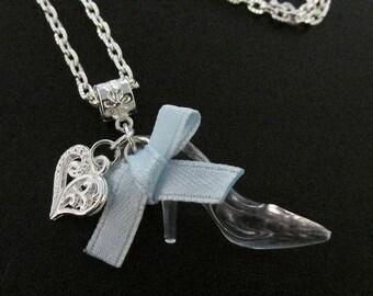 Cinderella Glass Slipper Shoe Chain Necklace 50cm with Pretty Bow & Heart