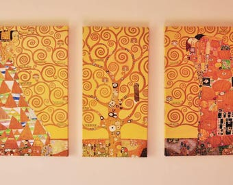 Canvas Reproduction - Tree of Life Klimt, Fine Art Triptych, Wall Decor, Art Print, Wedding Gift, Wedding Anniversary Gift, Wall Decor
