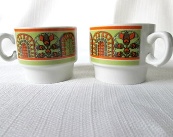 Vintage Espresso Cups, 1970s Demitasse Cup, Tiny Stacking Mugs, Weidmann Porzelian Made in Italy, Avocado Green, Orange, Brown, and White 90