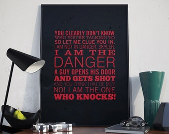 I Am The One Who Knocks - Poster, Breaking Bad, Heisenberg, Walter White, Quote