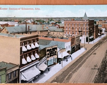 Color 1911 Eastern Section EDMONTON, Alberta  Real Photo Postcard ~ Postally Used Excellent