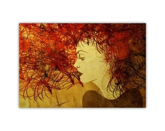 Red Head, Woman Illustration, Canvas Print, Red Wall Art, Large Poster