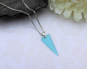 Blue sea glass necklace, silver and recycled glass turquoise blue triangle geometric pendant beach necklace summer jewelry