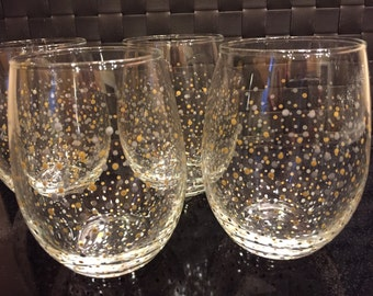 Polka Dot Stemless Wine Glasses - Set of 4 - Silver & Gold