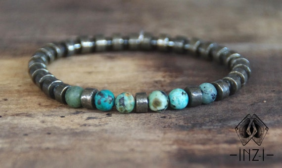 Bracelet Jasper turquoise 6 mm, pyrite and hematite INZ - I - model Vinz man