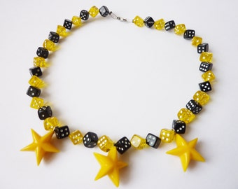 Dice Stars Necklace black yellow Accessories Statement Necklace Rockabilly