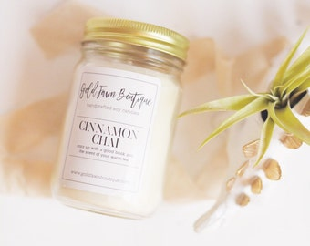 Cinnamon Chai 12oz Soy Candle | Hand Poured Natural Clean Burning Soy Candle