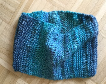 Stylish Blue-Green Hand-Knit Varigated Cowl/Scarf