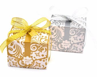 100pcs European Silver/Gold flower pattern wedding candy box plum thank you gift chocolate dessert box package Favor Boxes