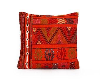 orange bohemian pillow,pillow, throw pillow cover, throw pillows, pillow case, boho chic pillow, accent pillows, accent pillow,embroidered