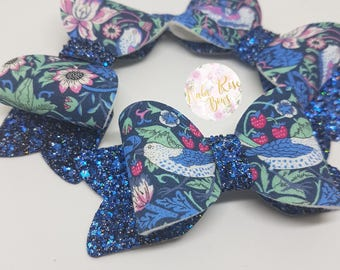 Navy Birds Floral Small Bow