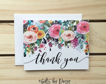 thank you Card, wedding thank you card, Floral thank you Card, wedding card. Congraulations Card, thanks Card, Card for Mom