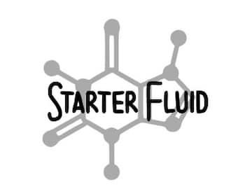 STARTER FLUID/Caffeine Molecule - Quality Vinyl Decal; Yeti Decal, Car Decal, Tumbler Decal, Coffee Decals, Tea Decals, Fuel, Fast Shipping!