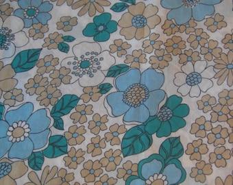 70's Blue and Beige Flower Power Single Bed Flat Sheet