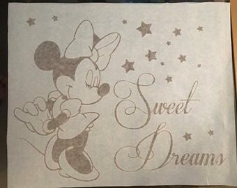 Minnie Mouse Sweet Dreams Wall Decal Sticker Print Kids Wall