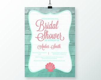 Bridal Shower Invitation & Thank You Postcards/Cards - Seashell Theme (1 Dozen)