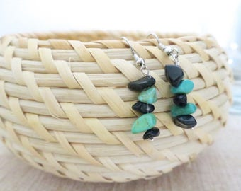 Amazonite and black obsidian chip drop earrings