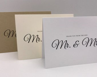 Thank You From the New Mr. & Mrs. Note Cards, Wedding/Newlywed Thank You Notes/Envelopes.  White, Natural, and Brown Kraft Available