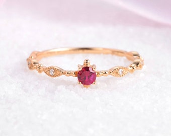 Delicate diamond and ruby ring in 14k Yellow Gold in vintage style, Diamond Engagement Ring, Stackable Diamond band