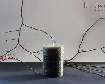 """Handmade Large Pillar Rustic Candle Olive Green 85x120mm (3.34 x 4.72"""")"""