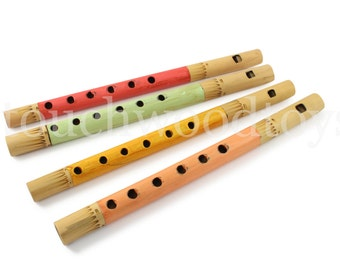 Bamboo recorder wooden recorder flute childs whistle red green yellow orange