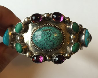 Vintage English Sterling Silver Turquoise, Amethyst, and Malachite Bracelet