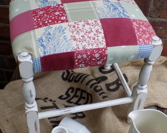 A Vintage Shabby Chic Patchwork Uphostered Stool
