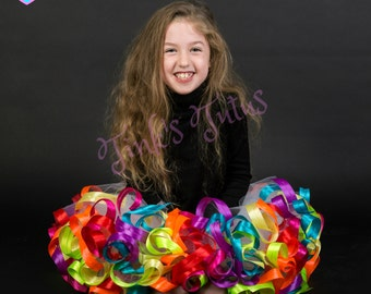 Super Fluffy Rainbow Ribbon Trimmed Tutu Skirt  Age one ~ Adult Sizes Made to Measure