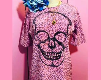 Skull shirt/ FAB 208 NYC/pink skull shirt/skull blouse/overdyed recycled vintage/skull tee