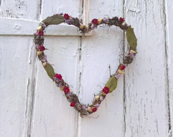Decorated Vine Heart Wreath, rustic wedding, wedding decoration, natural wreath, dried flowers, country wedding, home decor, house warming