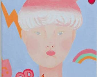 original canvas art acrylic painting interior present for daughter candy boy