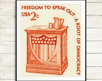 vintage US political posters, large orange wall art, large vintage wall decor, freedom of speech, roots of democracy, constitutional rights