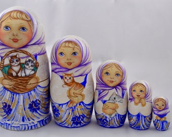 Doll - 5 set Russian nesting dolls exclusive children-matryoshka